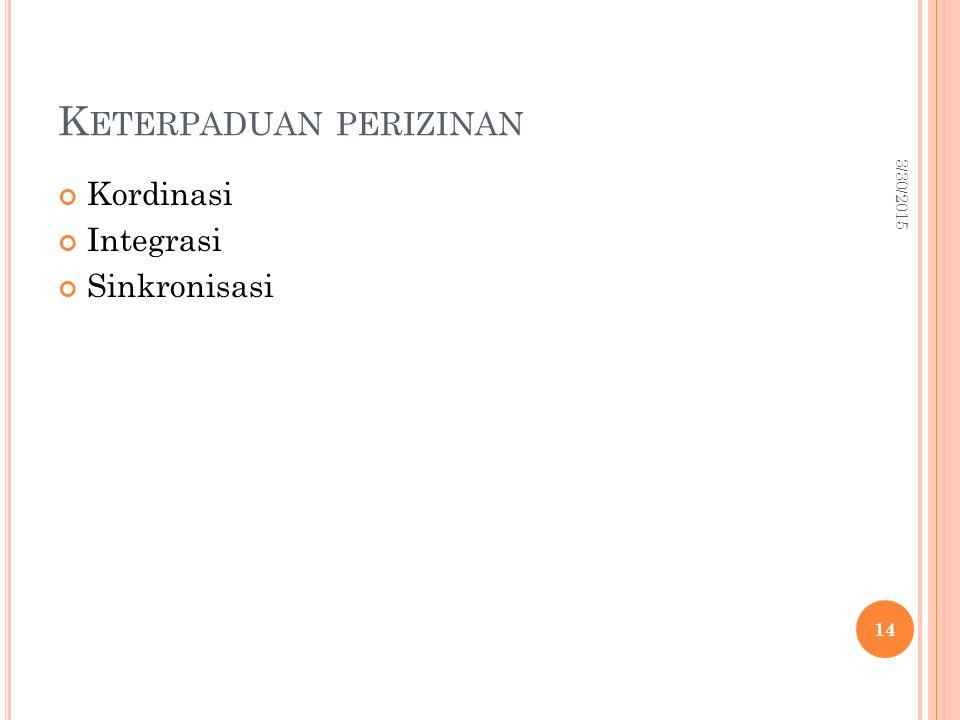 K ETERPADUAN PERIZINAN Kordinasi Integrasi Sinkronisasi 3/30/2015 14