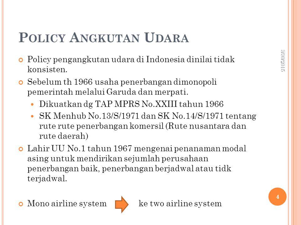 P OLICY A NGKUTAN U DARA Policy pengangkutan udara di Indonesia dinilai tidak konsisten.
