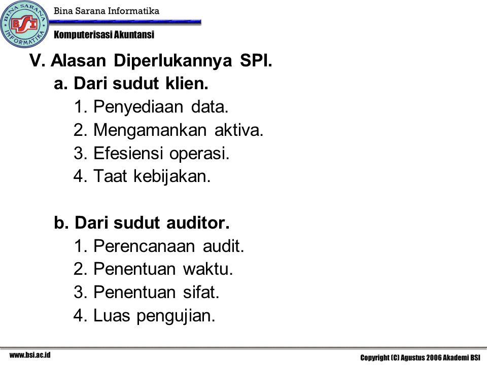 V.Alasan Diperlukannya SPI. a. Dari sudut klien. 1.