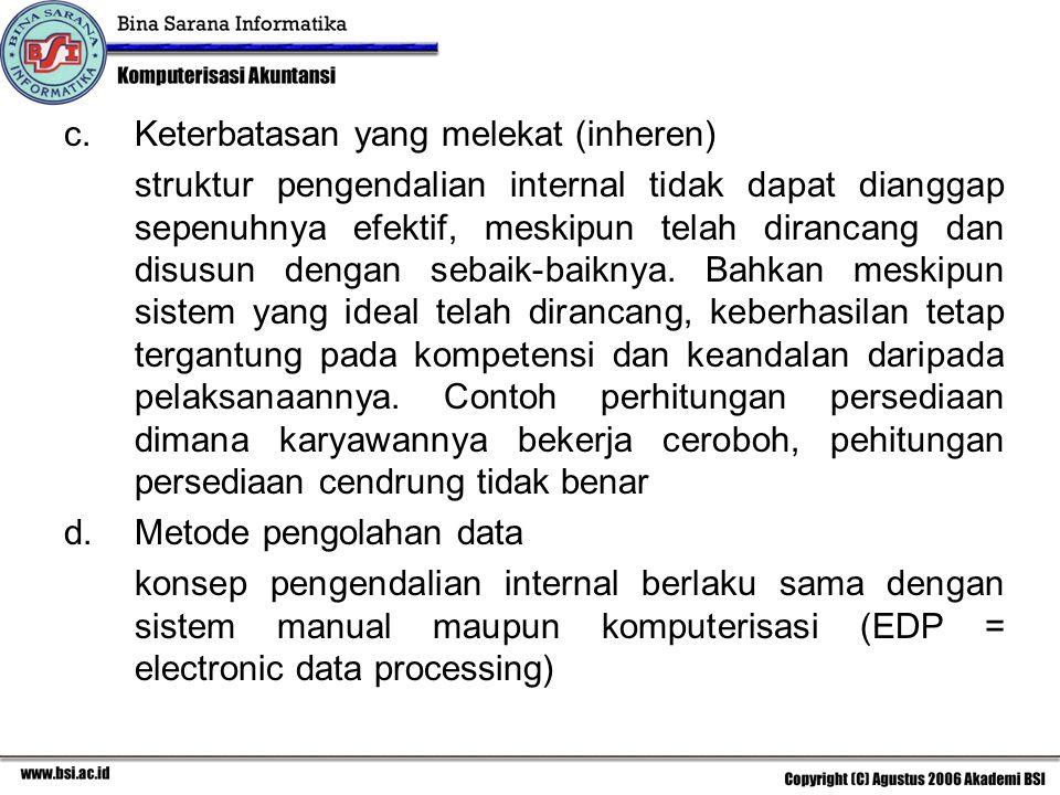 III.Tujuan Pokok SPI. a. Menjaga kekayaan. b. Mendorong efesiensi.