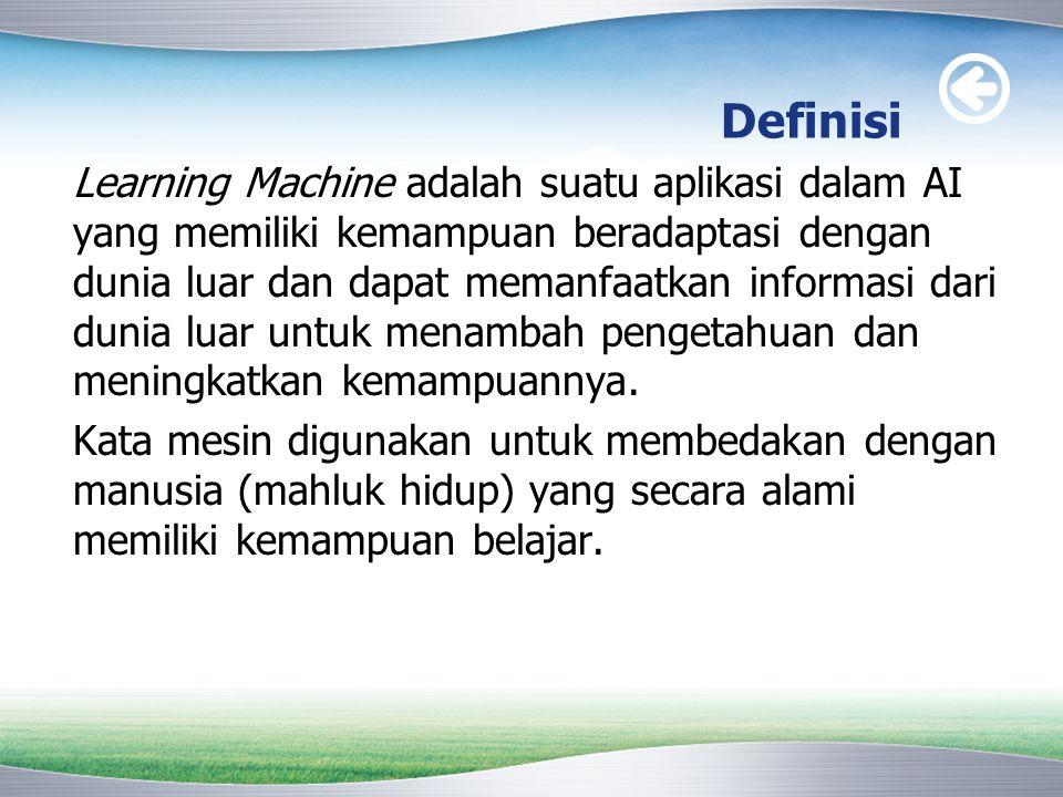 Definisi Learning Machine adalah suatu aplikasi dalam AI yang memiliki kemampuan beradaptasi dengan dunia luar dan dapat memanfaatkan informasi dari d