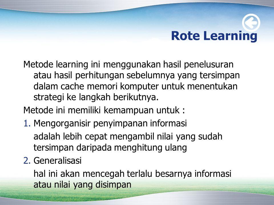 Rote Learning Metode learning ini menggunakan hasil penelusuran atau hasil perhitungan sebelumnya yang tersimpan dalam cache memori komputer untuk men