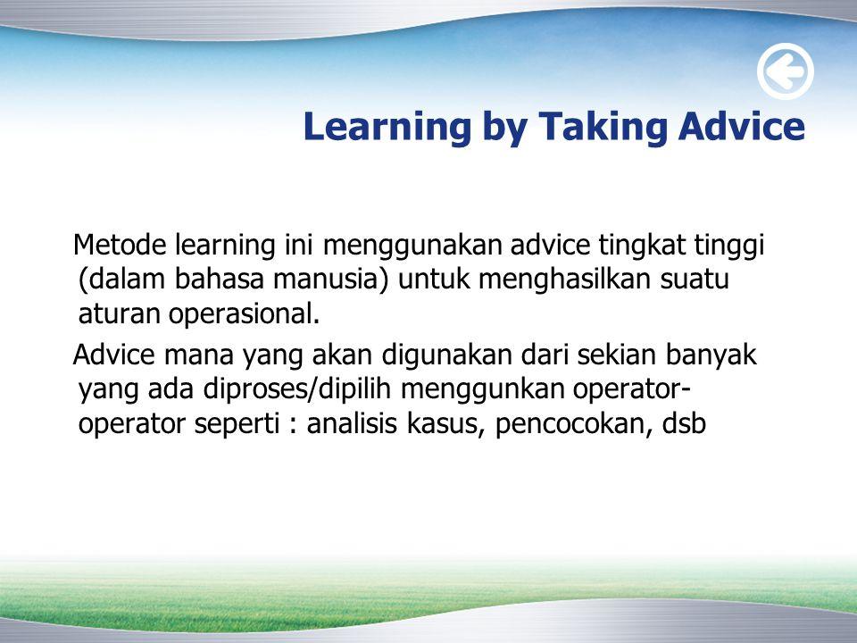 Learning by Taking Advice Metode learning ini menggunakan advice tingkat tinggi (dalam bahasa manusia) untuk menghasilkan suatu aturan operasional. Ad
