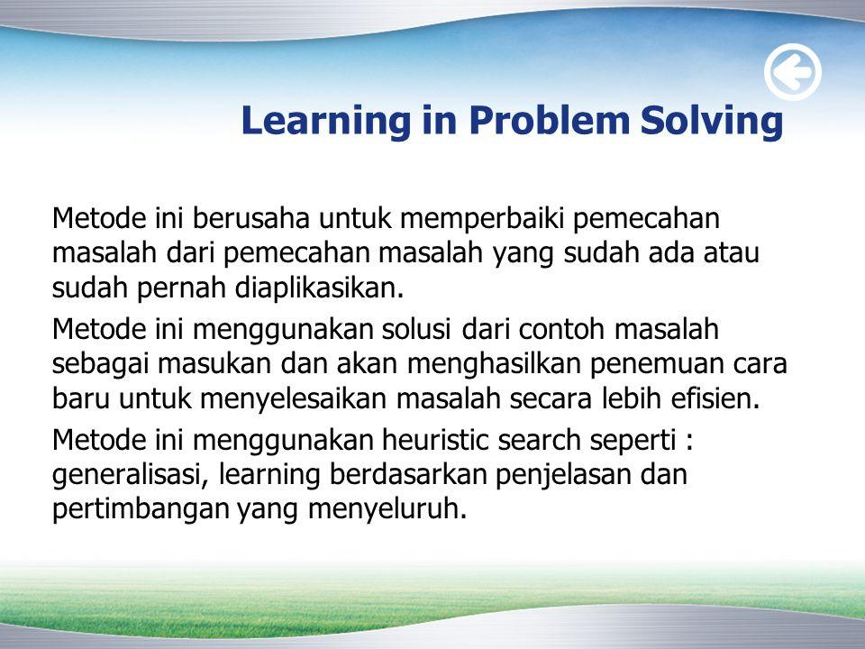 Learning in Problem Solving Metode ini berusaha untuk memperbaiki pemecahan masalah dari pemecahan masalah yang sudah ada atau sudah pernah diaplikasi