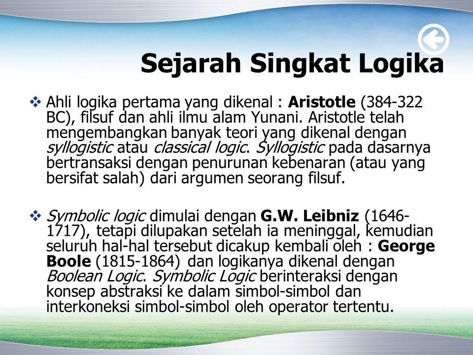 Sejarah Singkat Logika  Ahli logika pertama yang dikenal : Aristotle (384-322 BC), filsuf dan ahli ilmu alam Yunani. Aristotle telah mengembangkan ba