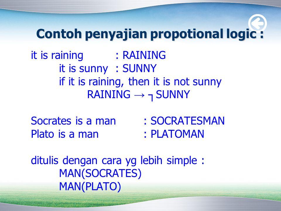 Contoh penyajian propotional logic : it is raining: RAINING it is sunny: SUNNY if it is raining, then it is not sunny RAINING → ┐ SUNNY Socrates is a