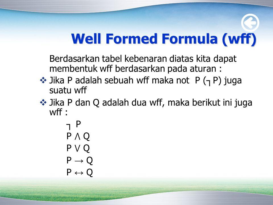 Well Formed Formula (wff) Berdasarkan tabel kebenaran diatas kita dapat membentuk wff berdasarkan pada aturan :  Jika P adalah sebuah wff maka not P