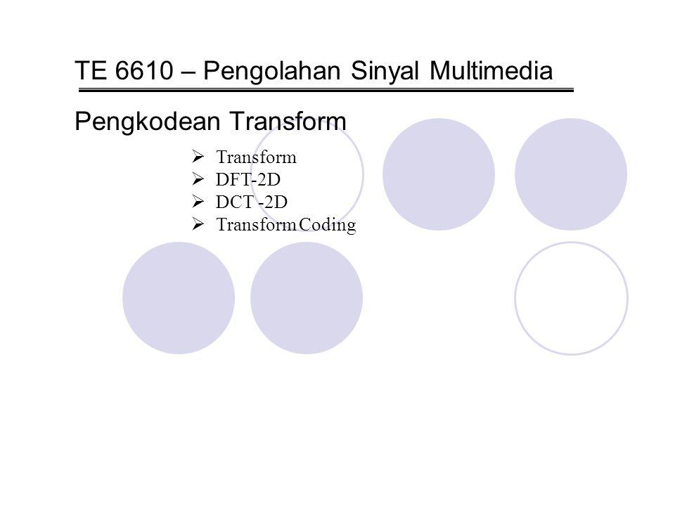 Pengolahan Sinyal MultimediaPengkodean Transform22/46 Discrete Cosine Transform 2D [DCT-2D]  Forward DCT [FDCT] mentranformasi sampel-sample citra [domain spatial] ke dalam sebuah susunan koefisien transform [domain transform].