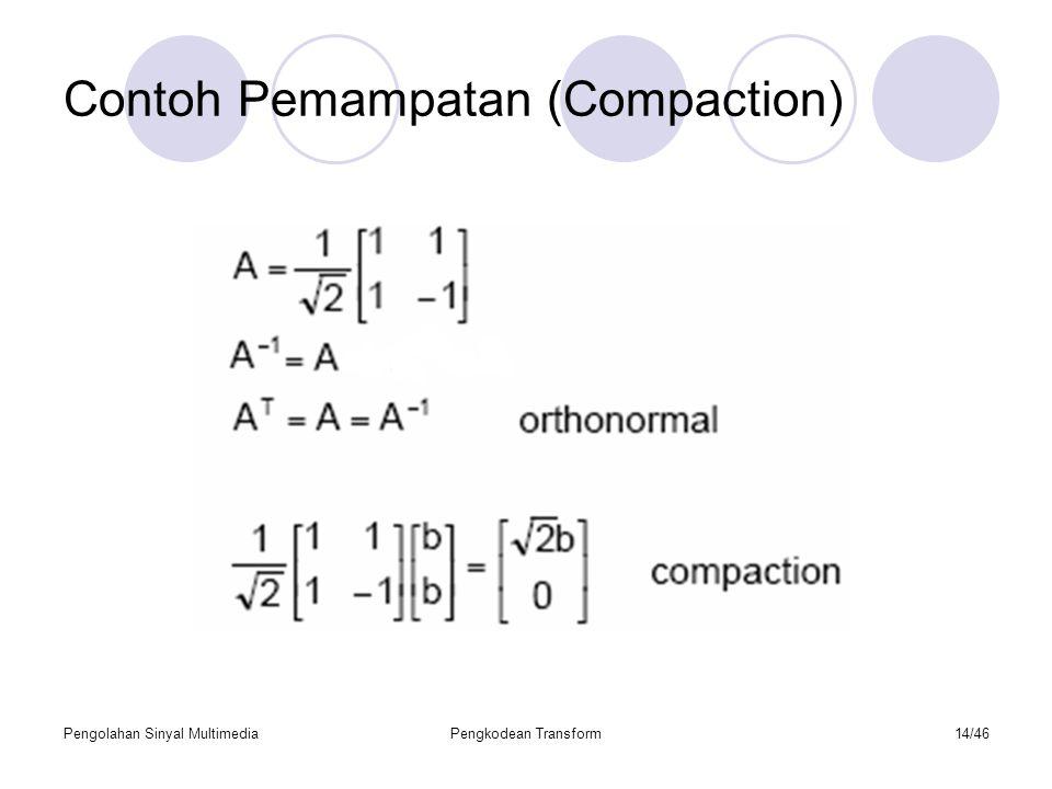 Pengolahan Sinyal MultimediaPengkodean Transform14/46 Contoh Pemampatan (Compaction)