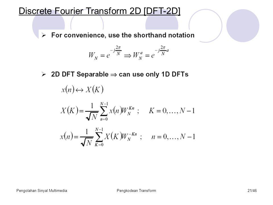 Pengolahan Sinyal MultimediaPengkodean Transform21/46 Discrete Fourier Transform 2D [DFT-2D]