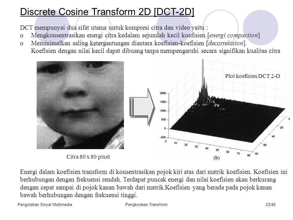 Pengolahan Sinyal MultimediaPengkodean Transform23/46 Discrete Cosine Transform 2D [DCT-2D] DCT mempunyai dua sifat utama untuk kompresi citra dan video yaitu : oMengkonsentrasikan energi citra kedalam sejumlah kecil koefisien [energi compaction] oMeminimalkan saling ketergantungan diantara koefisien-koefisien [decorrelation].