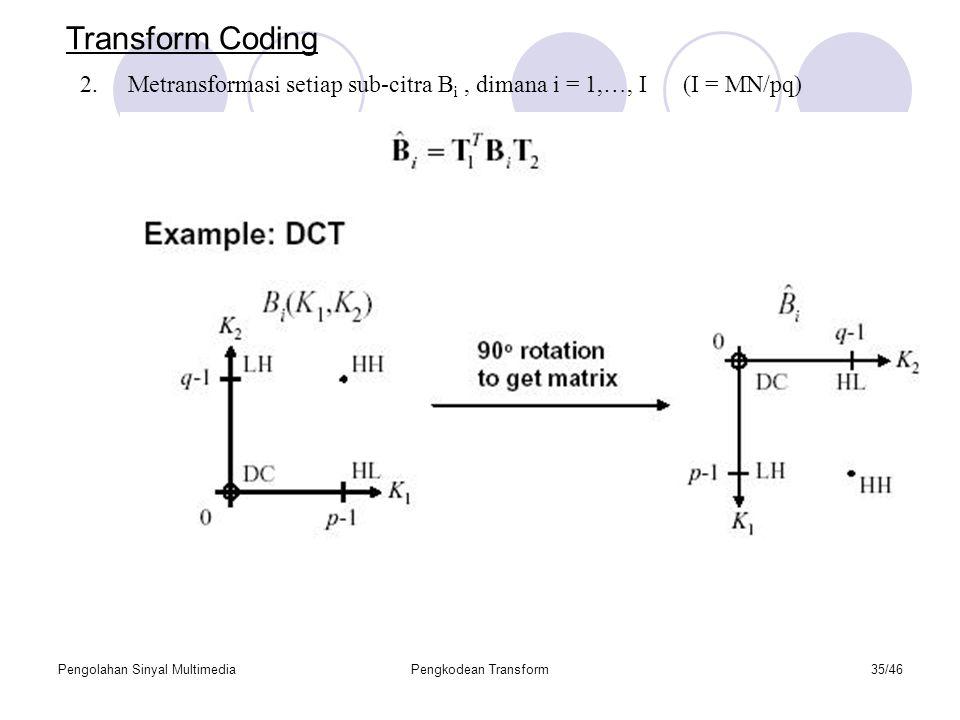 Pengolahan Sinyal MultimediaPengkodean Transform35/46 Transform Coding 2.Metransformasi setiap sub-citra B i, dimana i = 1,…, I (I = MN/pq)