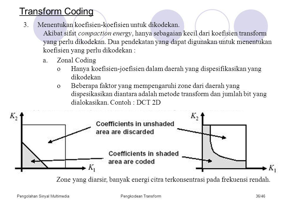Pengolahan Sinyal MultimediaPengkodean Transform36/46 Transform Coding 3.Menentukan koefisien-koefisien untuk dikodekan.