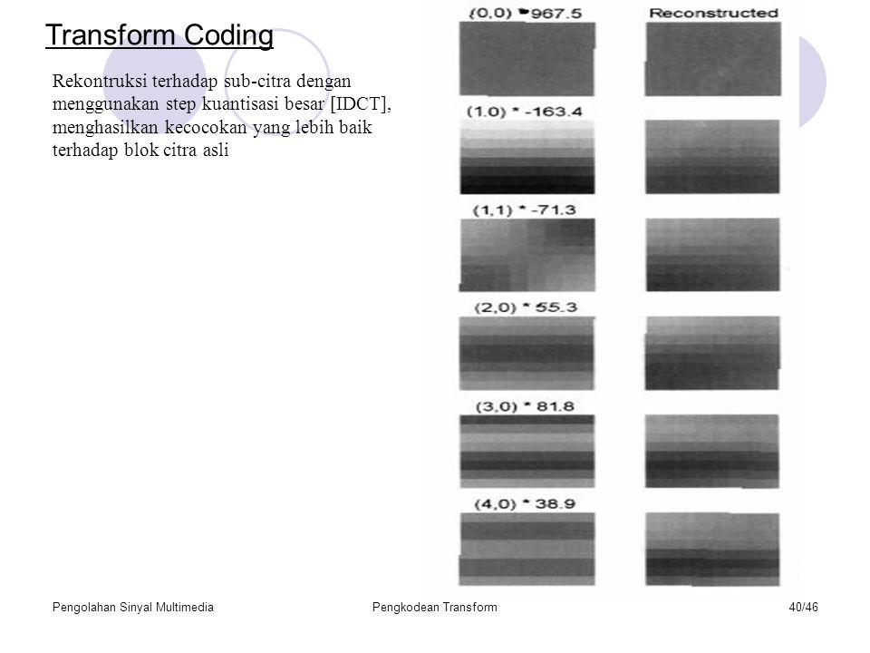 Pengolahan Sinyal MultimediaPengkodean Transform40/46 Rekontruksi terhadap sub-citra dengan menggunakan step kuantisasi besar [IDCT], menghasilkan kecocokan yang lebih baik terhadap blok citra asli Transform Coding