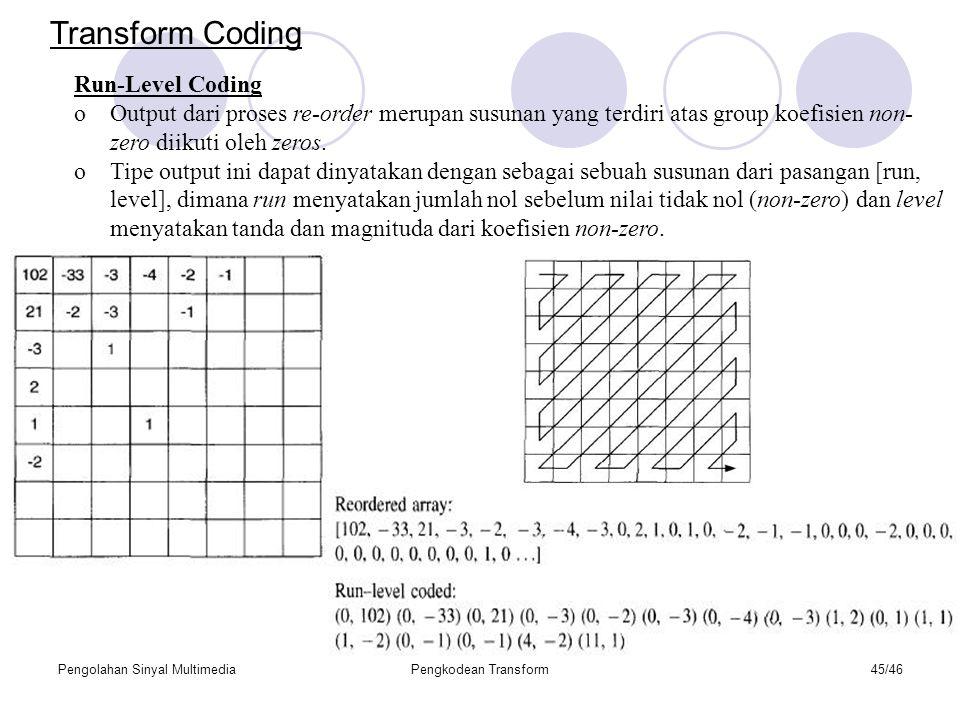 Pengolahan Sinyal MultimediaPengkodean Transform45/46 Run-Level Coding oOutput dari proses re-order merupan susunan yang terdiri atas group koefisien non- zero diikuti oleh zeros.