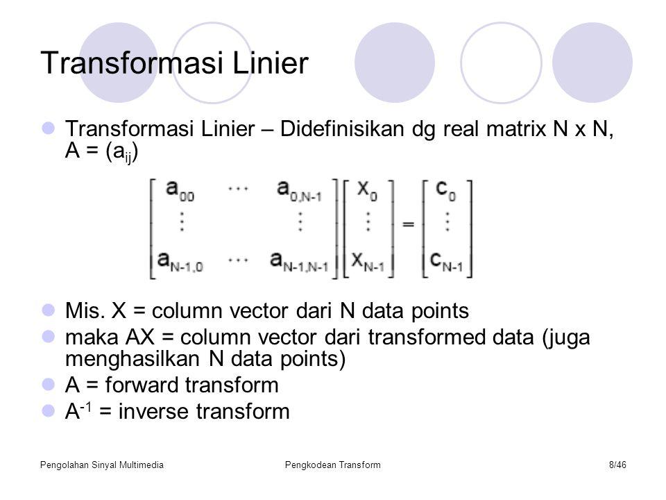 Pengolahan Sinyal MultimediaPengkodean Transform29/46 ALGORITMA CEPAT UNTUK DCT Algoritma Diagram Alir Contoh : Dengan menggunakan separable Transform, hitung koefisien F 2 dan Maka : Dengan melihat sifat kesimetrian fungsi kosinus :