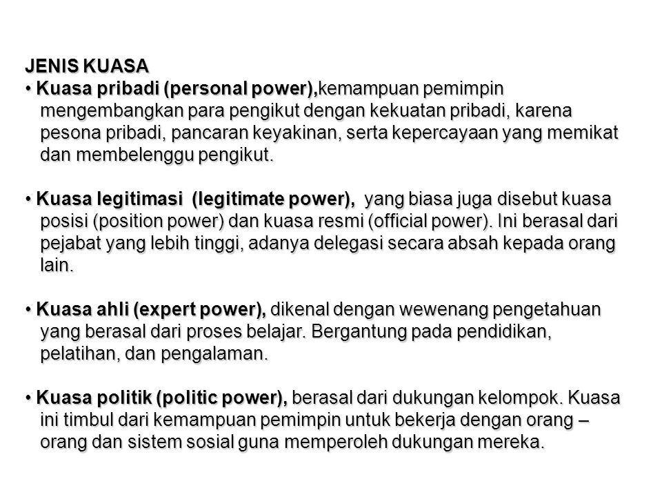 JENIS KUASA Kuasa pribadi (personal power),kemampuan pemimpin Kuasa pribadi (personal power),kemampuan pemimpin mengembangkan para pengikut dengan kek