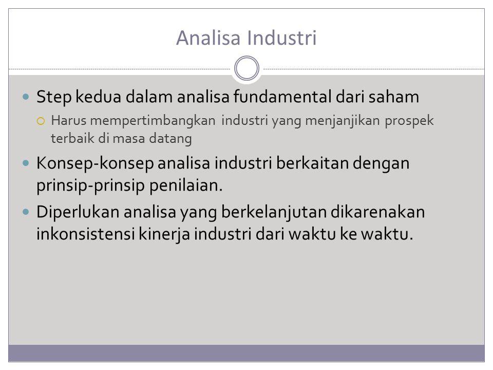 Analisa Industri Step kedua dalam analisa fundamental dari saham  Harus mempertimbangkan industri yang menjanjikan prospek terbaik di masa datang Konsep-konsep analisa industri berkaitan dengan prinsip-prinsip penilaian.