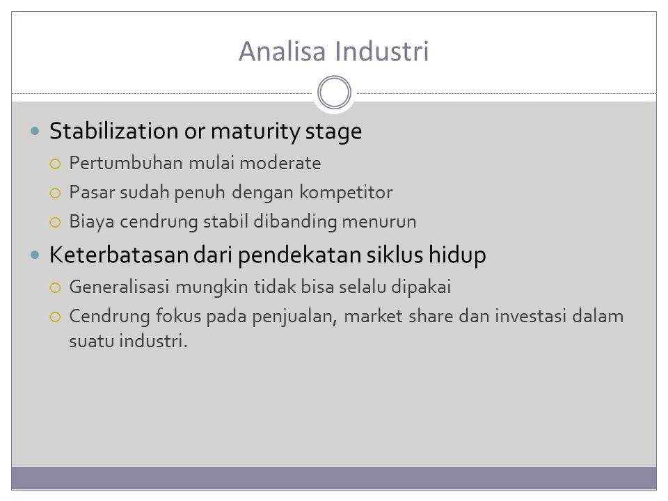 Analisa Industri Stabilization or maturity stage  Pertumbuhan mulai moderate  Pasar sudah penuh dengan kompetitor  Biaya cendrung stabil dibanding