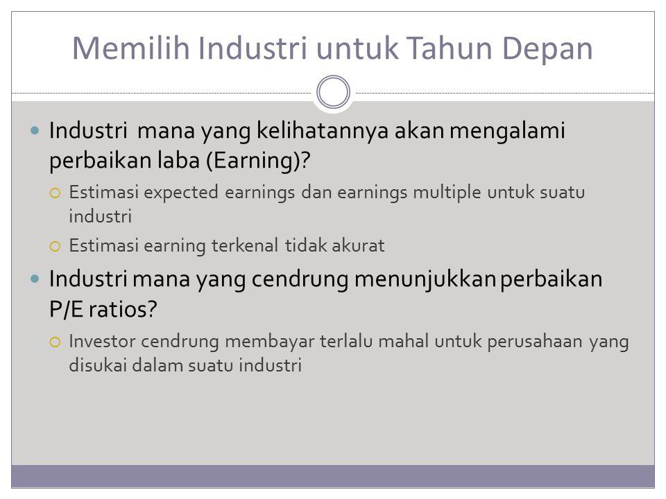 Memilih Industri untuk Tahun Depan Industri mana yang kelihatannya akan mengalami perbaikan laba (Earning)?  Estimasi expected earnings dan earnings