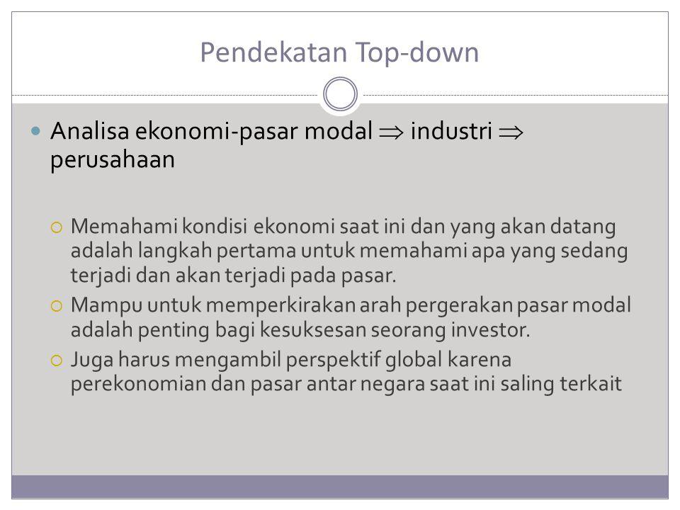 Pendekatan Top-down Analisa ekonomi-pasar modal  industri  perusahaan  Memahami kondisi ekonomi saat ini dan yang akan datang adalah langkah pertam