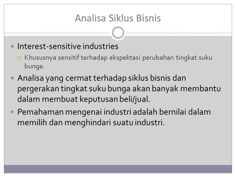 Analisa Siklus Bisnis Interest-sensitive industries  Khususnya sensitif terhadap ekspektasi perubahan tingkat suku bunga. Analisa yang cermat terhada