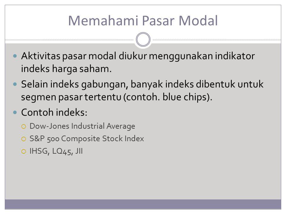 Memahami Pasar Modal Aktivitas pasar modal diukur menggunakan indikator indeks harga saham. Selain indeks gabungan, banyak indeks dibentuk untuk segme