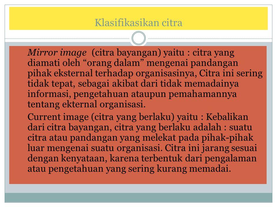 """Klasifikasikan citra 1. Mirror image (citra bayangan) yaitu : citra yang diamati oleh """"orang dalam"""" mengenai pandangan pihak eksternal terhadap organi"""