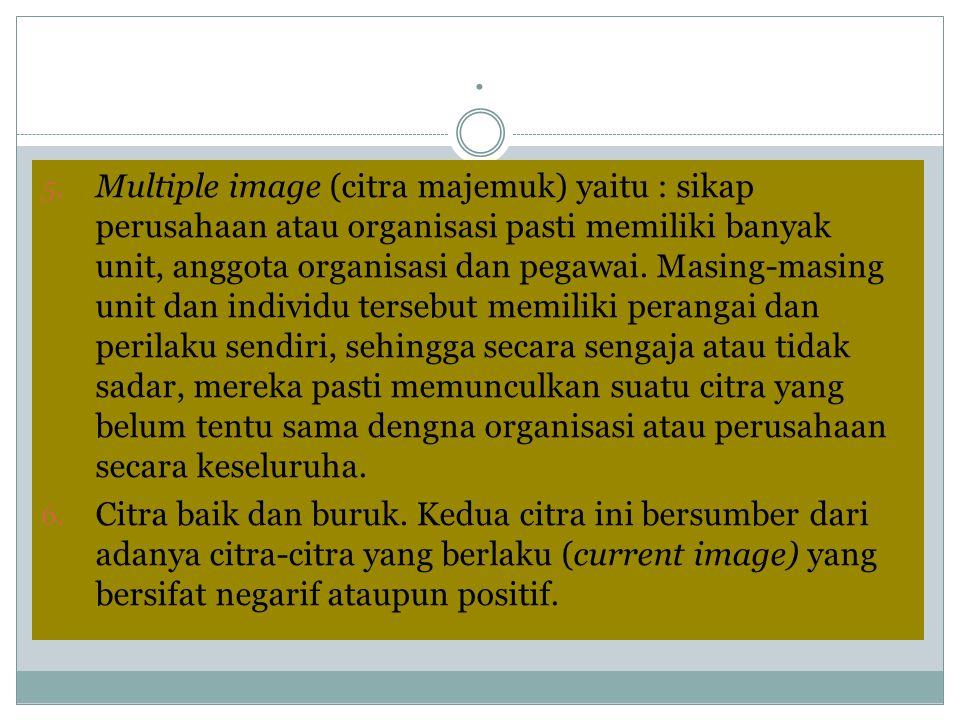 . 5. Multiple image (citra majemuk) yaitu : sikap perusahaan atau organisasi pasti memiliki banyak unit, anggota organisasi dan pegawai. Masing-masing