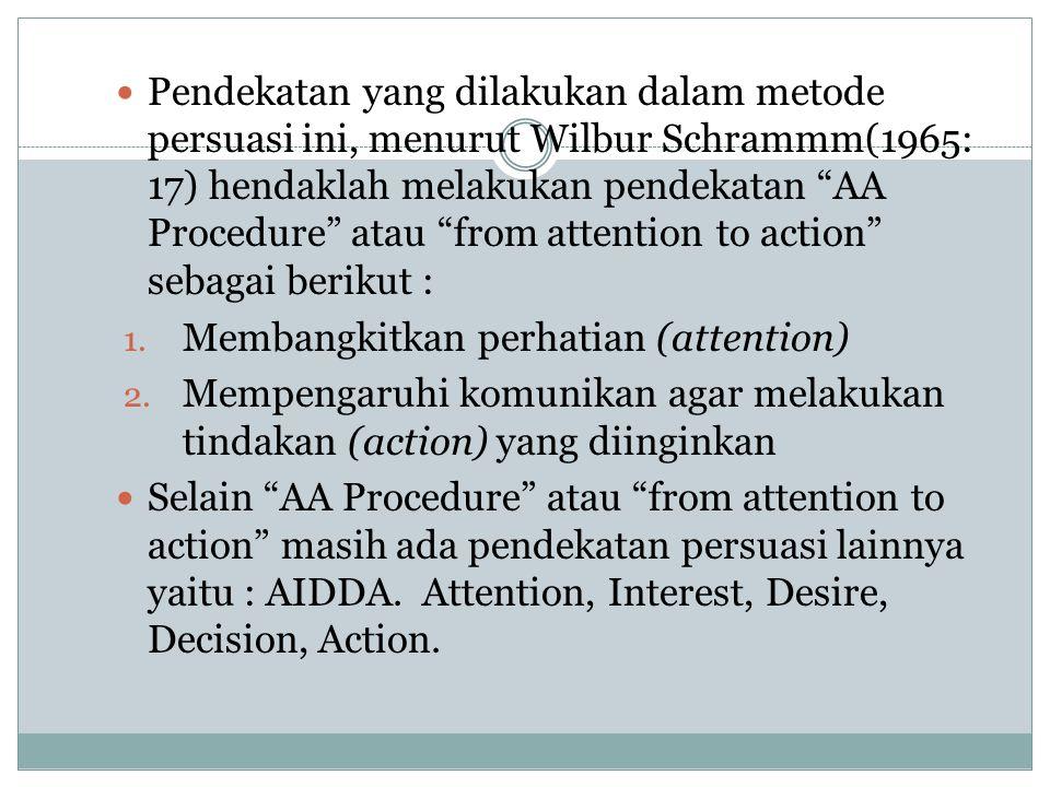 """Pendekatan yang dilakukan dalam metode persuasi ini, menurut Wilbur Schrammm(1965: 17) hendaklah melakukan pendekatan """"AA Procedure"""" atau """"from attent"""
