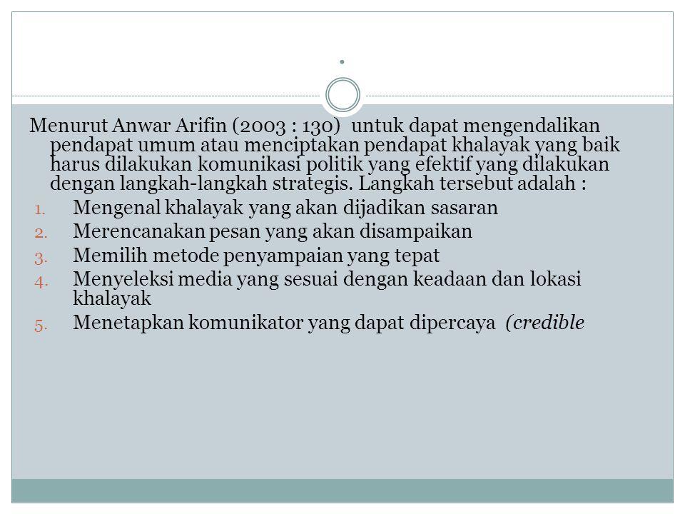 . Menurut Anwar Arifin (2003 : 130) untuk dapat mengendalikan pendapat umum atau menciptakan pendapat khalayak yang baik harus dilakukan komunikasi po