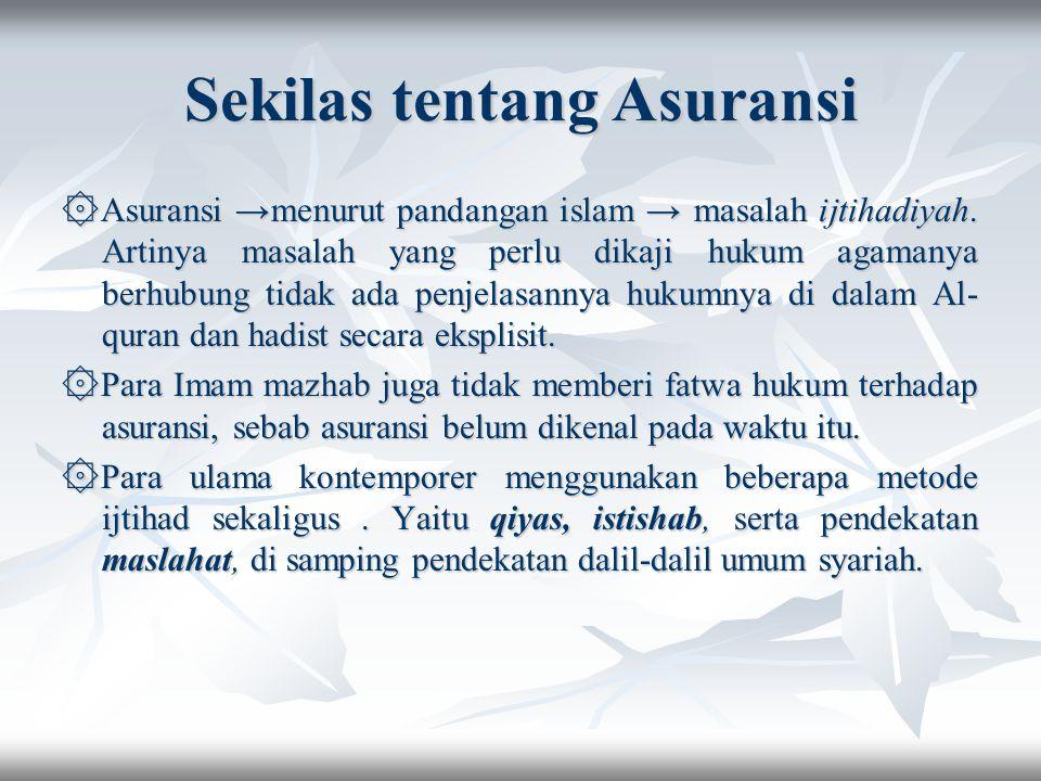 Sekilas tentang Asuransi ۞Asuransi →menurut pandangan islam → masalah ijtihadiyah.