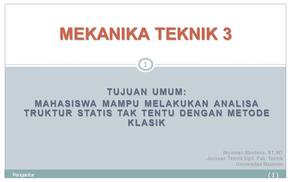 TUJUAN UMUM: MAHASISWA MAMPU MELAKUKAN ANALISA TRUKTUR STATIS TAK TENTU DENGAN METODE KLASIK ( I ) Pengantar 1 MEKANIKA TEKNIK 3 INyoman Merdana, ST,
