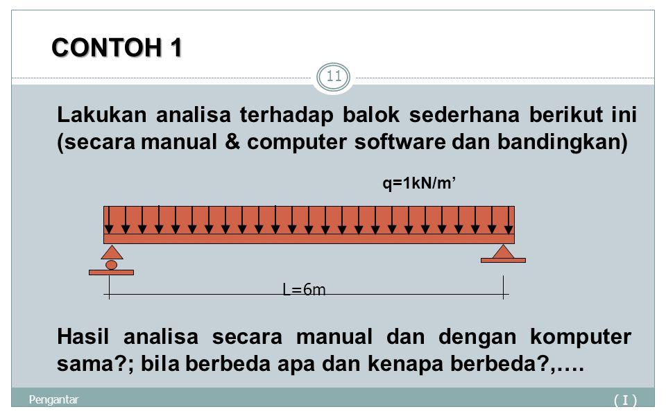 CONTOH 1 ( I ) Pengantar 11 Lakukan analisa terhadap balok sederhana berikut ini (secara manual & computer software dan bandingkan) L=6m q=1kN/m' Hasi
