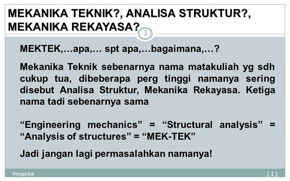 MEKANIKA TEKNIK?, ANALISA STRUKTUR?, MEKANIKA REKAYASA? ( I ) Pengantar 3 Mekanika Teknik sebenarnya nama matakuliah yg sdh cukup tua, dibeberapa perg