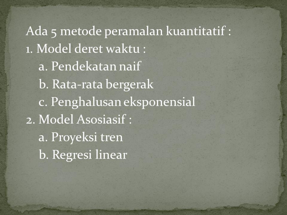 Ada 5 metode peramalan kuantitatif : 1.Model deret waktu : a.