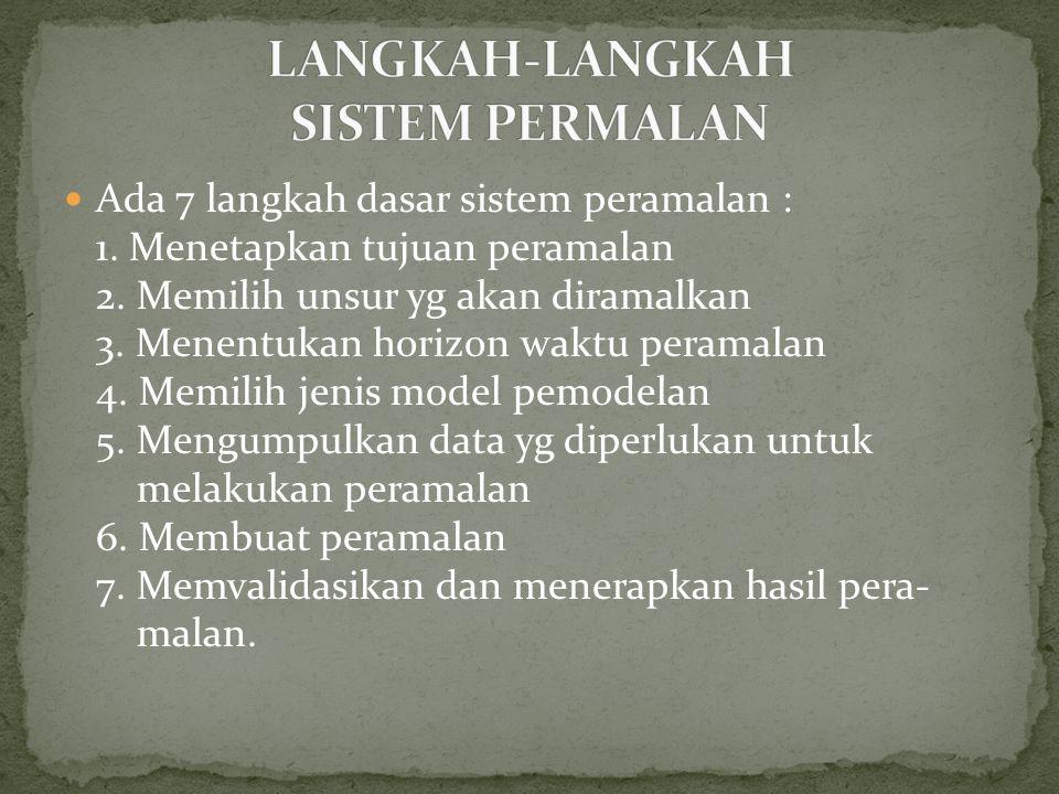 Ada 7 langkah dasar sistem peramalan : 1.Menetapkan tujuan peramalan 2.