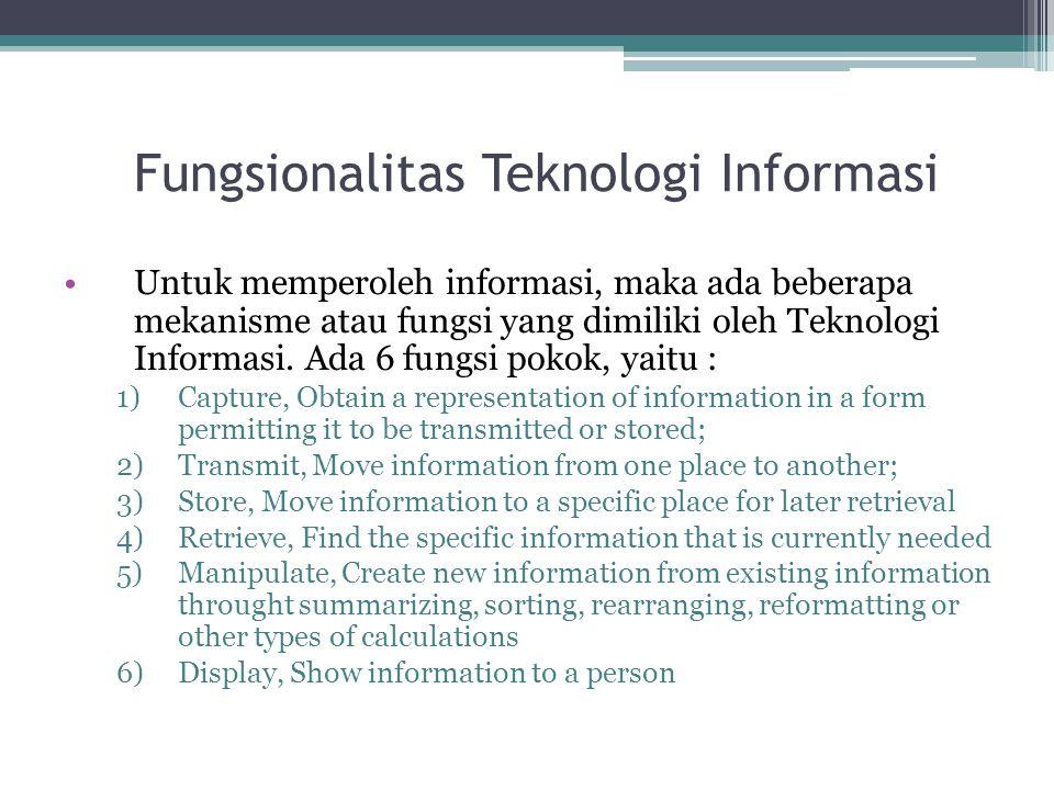 Fungsionalitas Teknologi Informasi Untuk memperoleh informasi, maka ada beberapa mekanisme atau fungsi yang dimiliki oleh Teknologi Informasi. Ada 6 f