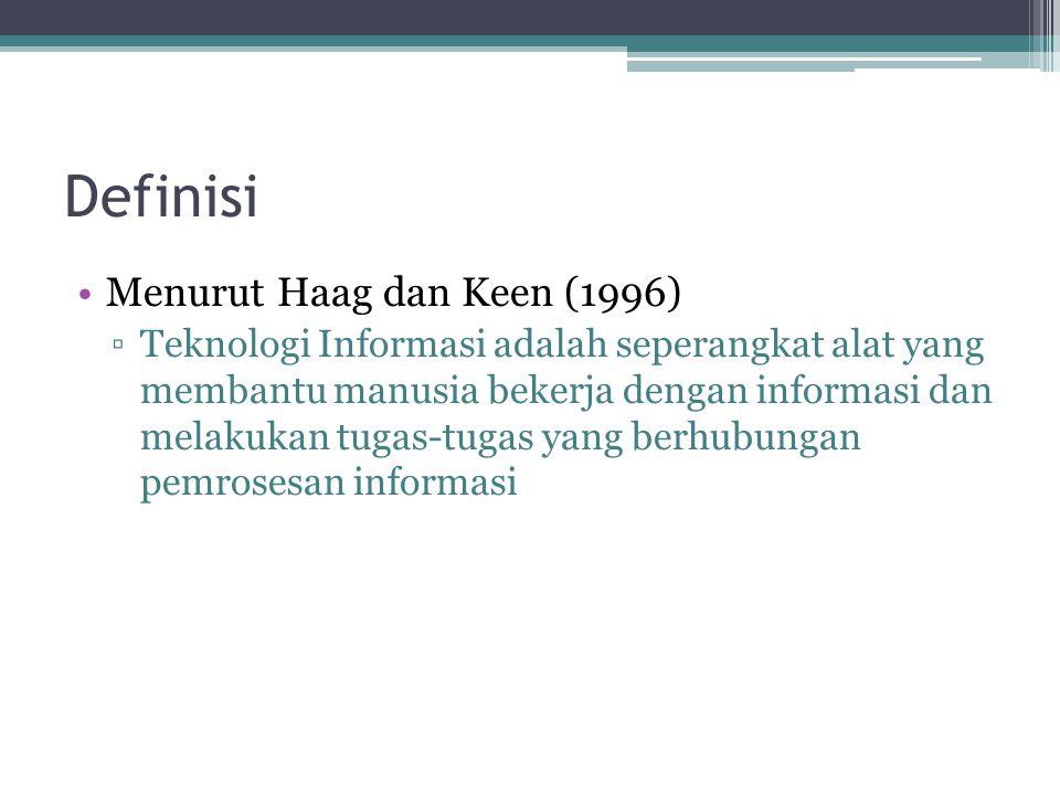Definisi Menurut Haag dan Keen (1996) ▫Teknologi Informasi adalah seperangkat alat yang membantu manusia bekerja dengan informasi dan melakukan tugas-