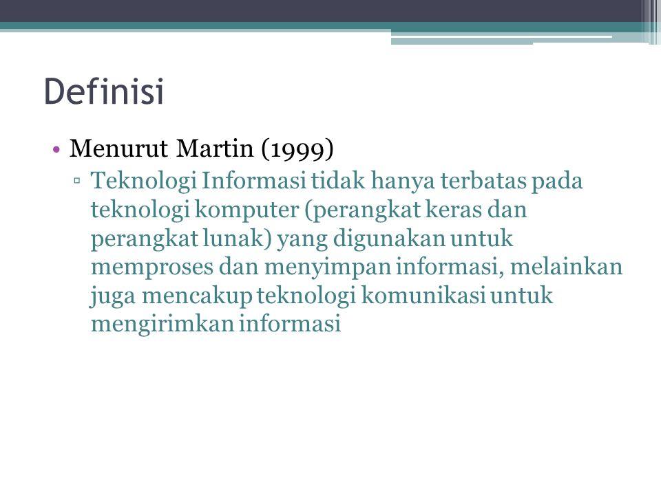 Definisi Menurut Martin (1999) ▫Teknologi Informasi tidak hanya terbatas pada teknologi komputer (perangkat keras dan perangkat lunak) yang digunakan