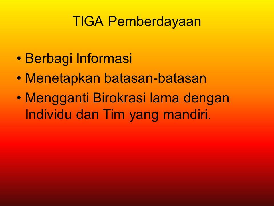 TIGA Pemberdayaan Berbagi Informasi Menetapkan batasan-batasan Mengganti Birokrasi lama dengan Individu dan Tim yang mandiri.