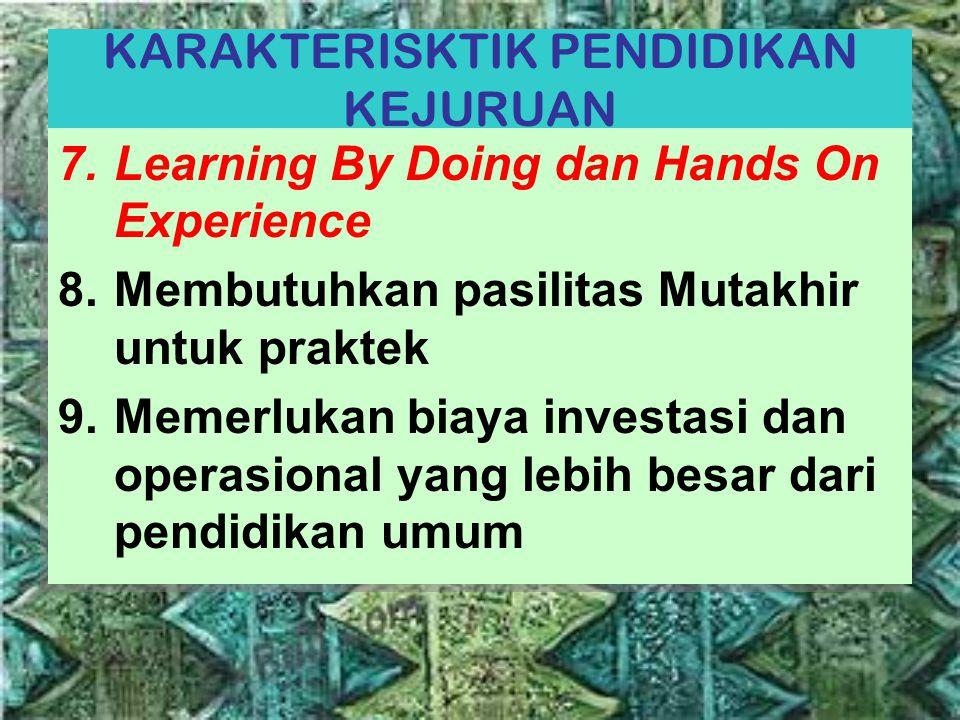 KARAKTERISKTIK PENDIDIKAN KEJURUAN 7.Learning By Doing dan Hands On Experience 8.Membutuhkan pasilitas Mutakhir untuk praktek 9.Memerlukan biaya inves