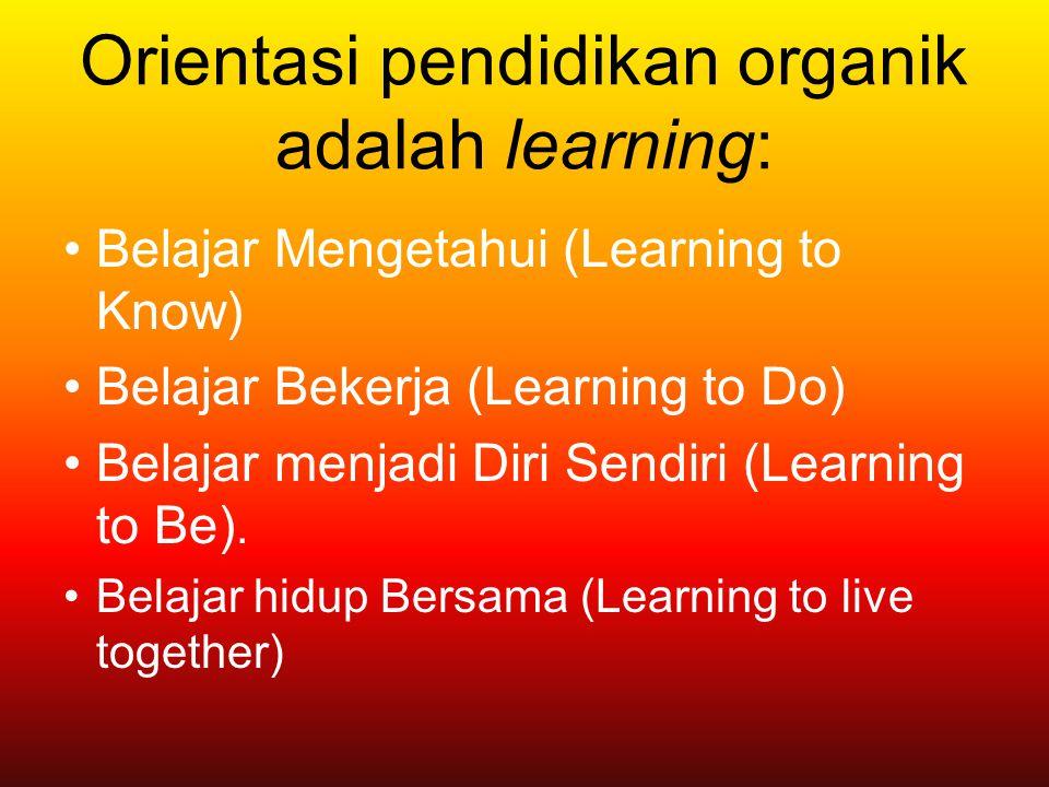 Orientasi pendidikan organik adalah learning: Belajar Mengetahui (Learning to Know) Belajar Bekerja (Learning to Do) Belajar menjadi Diri Sendiri (Lea