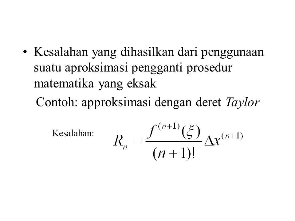 Kesalahan yang dihasilkan dari penggunaan suatu aproksimasi pengganti prosedur matematika yang eksak Contoh: approksimasi dengan deret Taylor Kesalaha