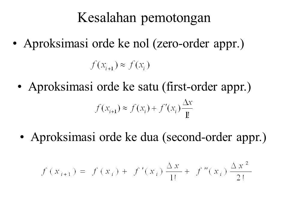 Kesalahan pemotongan Aproksimasi orde ke nol (zero-order appr.) Aproksimasi orde ke satu (first-order appr.) Aproksimasi orde ke dua (second-order app
