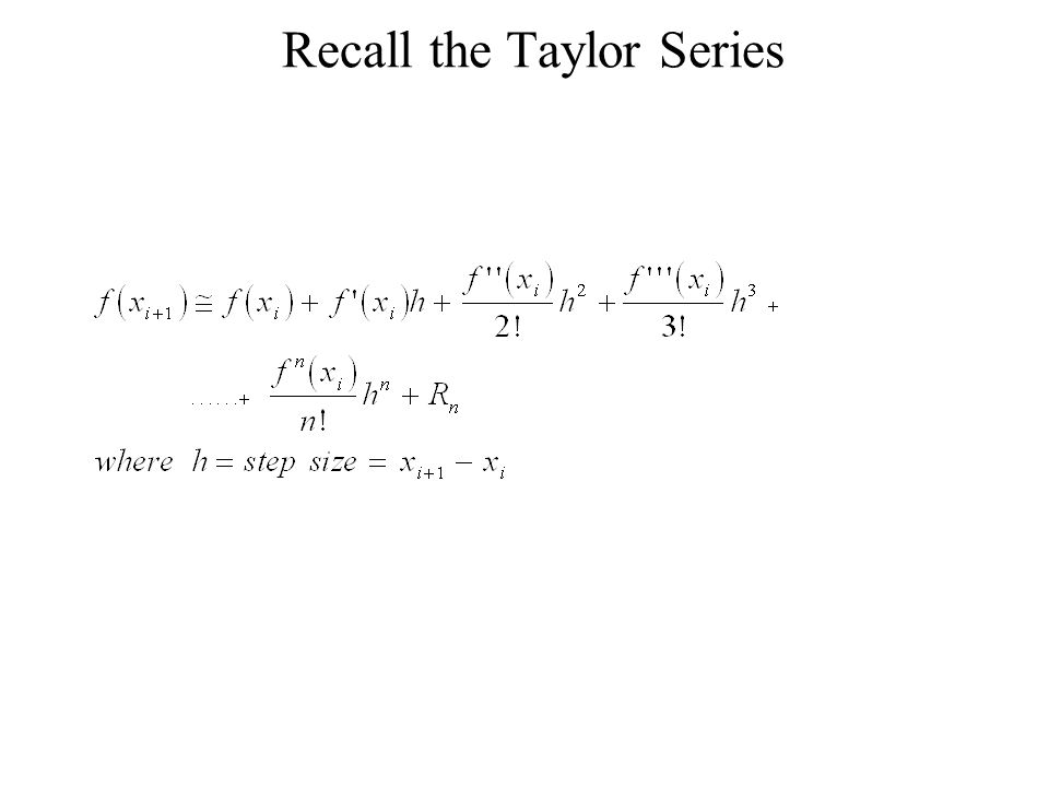 Recall the Taylor Series