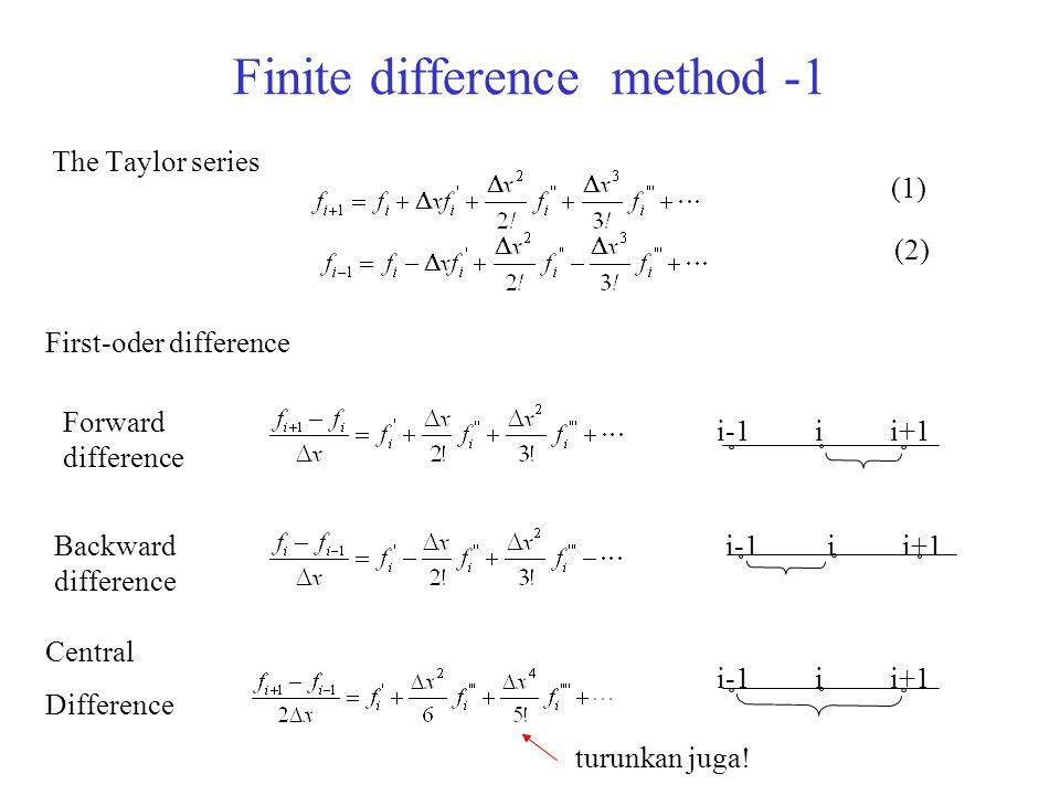 Finite difference method -1 The Taylor series (1) (2) Forward difference ii+1i-1 Backward difference i+1ii-1 Central Difference turunkan juga! ii+1i-1