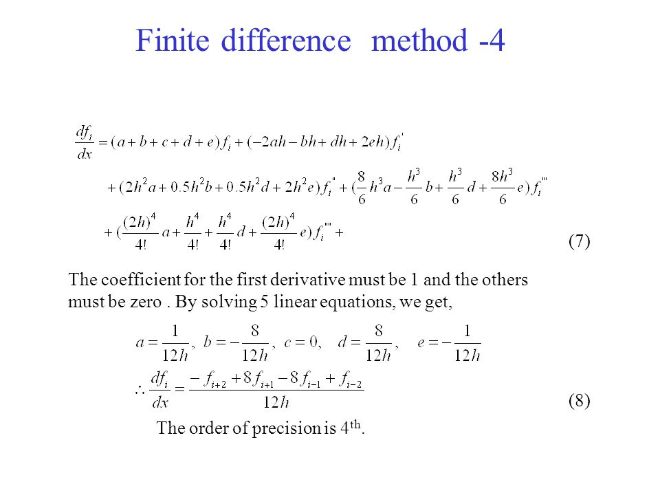 Finite difference method -5 Comparison of finite difference method x f(x) 0 1 28 327 464 f(x)=x 3, Δ x=1,x=2, analytical solution f'(2)=12 Forward finite difference Backward finite difference Central difference 4 th order finite Central difference Exercise: Calculate above four types of finite differences under condition of f(x)=x, Δ x=1, x=2