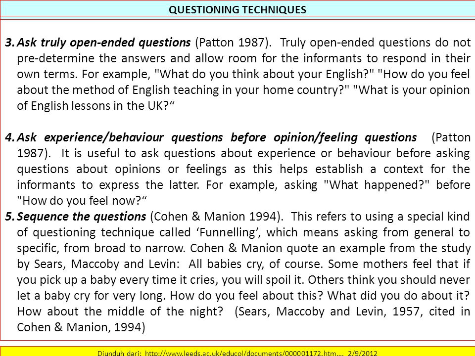 QUESTIONING TECHNIQUES Diunduh dari: http://www.leeds.ac.uk/educol/documents/000001172.htm….