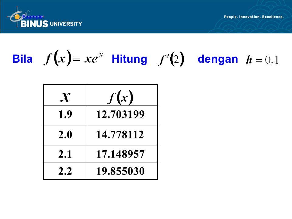 Example: Bila Hitung dengan 1.9 12.703199 2.0 14.778112 2.1 17.148957 2.2 19.855030